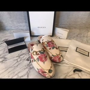 Gucci Princetown Floral Mules